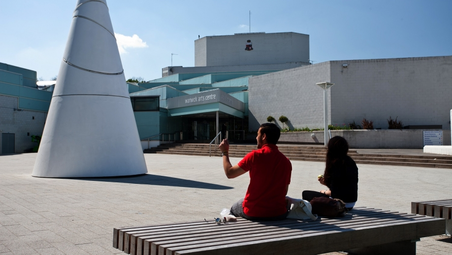 Outside Warwick Arts Centre with the Koan sculpture in the foreground