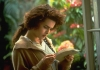 Actor Helena Bonham Carter reads a letter.