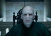 Actor Ralph Fiennes as Lord Voldemort looking straight into the camera