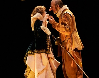 Cyrano de Bergerac actors in costume on stage
