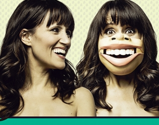 Comedian Nina Conti smiling and looking at a photo of herself wearing a ventriloquist mask