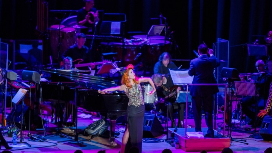 Paloma Faith performing on the Butterworth Hall stage