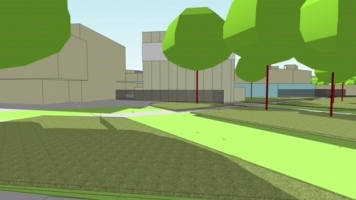 An artist's impression of The Goose Nest - temporary theatre at Warwick Arts Centre