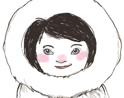 A drawing of a girl in a winter hooded parka coat.