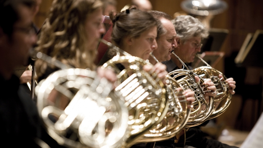 Philharmonia Orchestra - close up of brass instruments