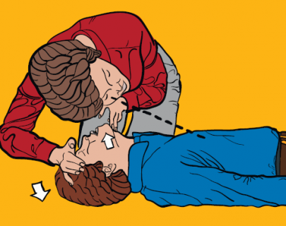 Instructional image of a person giving first aid to another person.