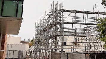 Scaffolding building our new temporary theatre - named The Goose Nest