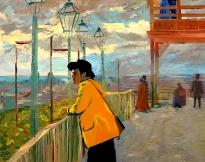 A painted animation of Vincent van Gogh, wearing a yellow jacket, leaning on a bridge underneath street lamps.