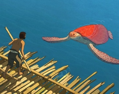 Animation. A shipwrecked man stands on a wooden raft, facing a giant red turtle in the sea.