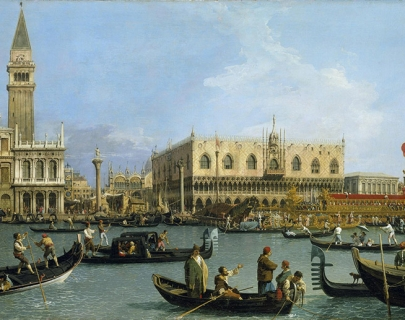 A Canaletto painting of Venice, featuring boats on the canal.