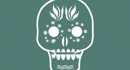 Day of the Dead Mask drawing. White patterns on a green background