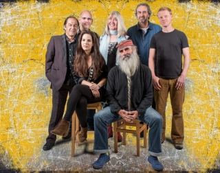 Steeleye Span band on a yellow background