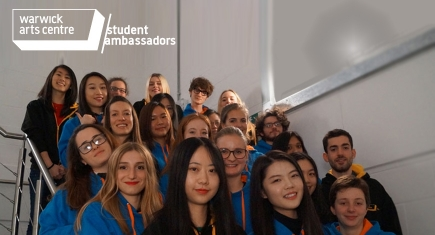 A group of student ambassadors pose for a photograph on the stairs