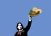 Posterised picture of Oscar Wilde holding a hat on a blue background