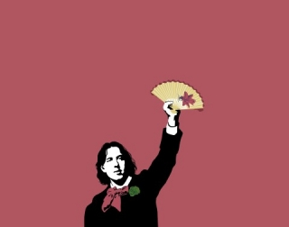 Posterised picture of Oscar Wilde holding a fan on a red background