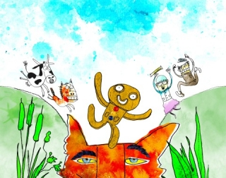 A drawing of a smiley gingerbread man jumping on a fox's head and surrounded by nature