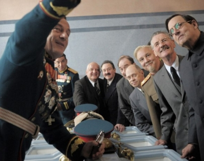 Actors playing the roles of Stalin and his colleagues in communist Russia