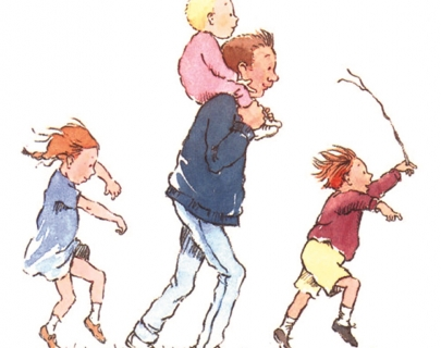 Cartoon image of a family walking in a line with a baby sitting on Dad's shoulders
