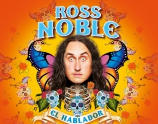 Ross Noble's face surrounded by colourful drawings of butterflies and skulls