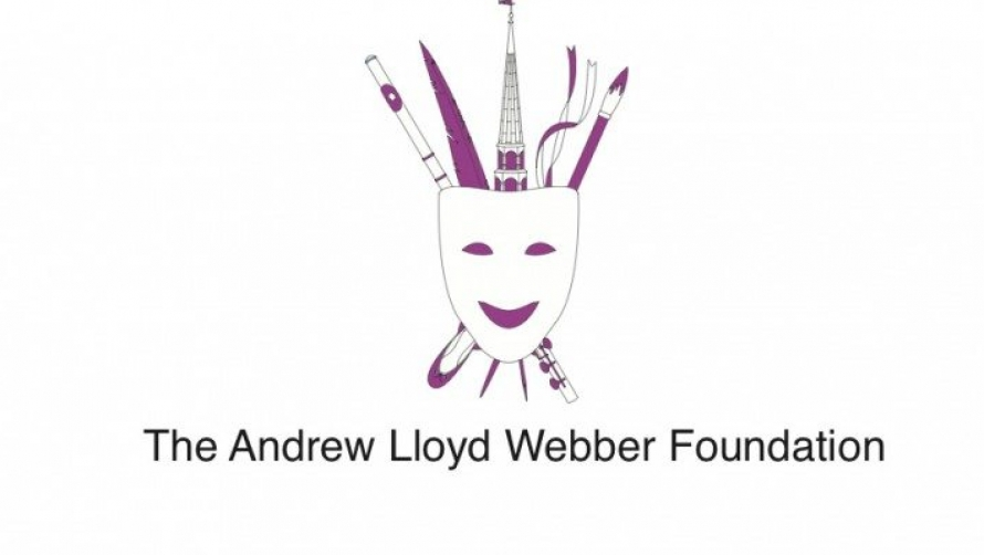 Andrew Lloyd Webber Foundation logo - a theatre mask with a feather, flute, ribbons and paint brush behind it