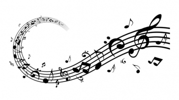 a wave of music notes in black and white