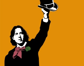 A black and white image of Oscar Wilde holding a hat against an orange background