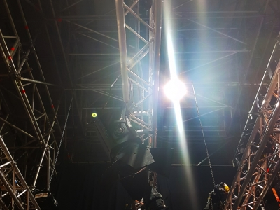 The lighting rig in The Goose Nest theatre