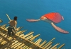 Animation. A large red turtle swims up to a man standing on a raft