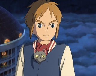 A young girl holding a black cat in her shirt standing against a building and night clouds