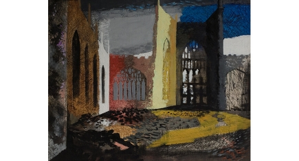 John Piper (1903-1992) Interior of Coventry Cathedral, the morning after the Blitz, 1940 Oil on canvas laid on board Herbert Art Gallery & Museum, Coventry, UK / Bridgeman Images