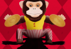 Cartoon of a monkey on a red background