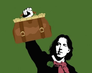A black and white drawing of Oscar Wilde holding a brown bag against a green background