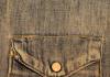 A close shot of a denim jacket's pocket