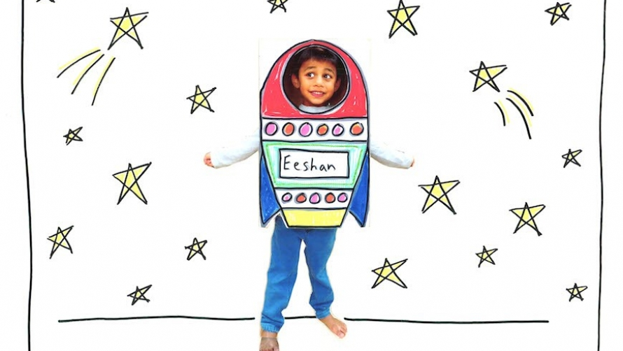 Drawing of a kid with a rocket costume surrounded by stars