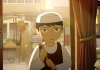 Animation. A young girl with short hair and a hat clutches at her satchel