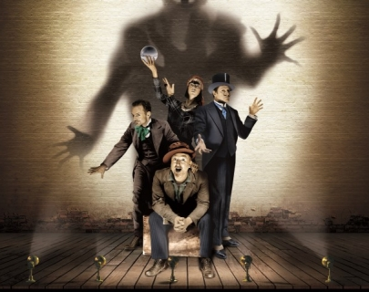 Four actors on a stage with an ominous shadow of a ghost behind them