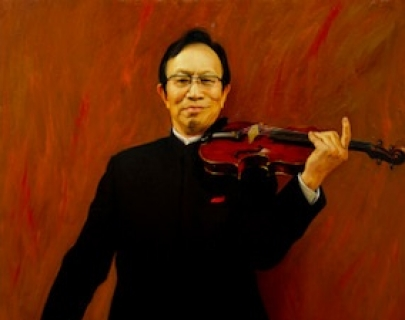 Painting of a violinist in a black suit against a red background
