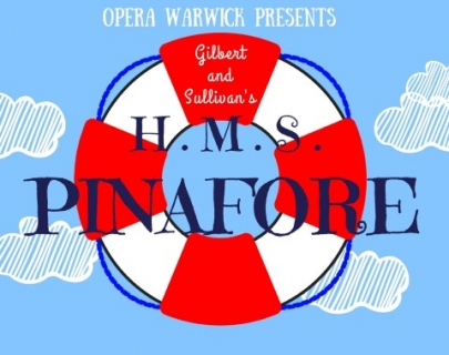 """A vintage red and white bouy against a light blue background with the text """"HMS Pinafore"""""""