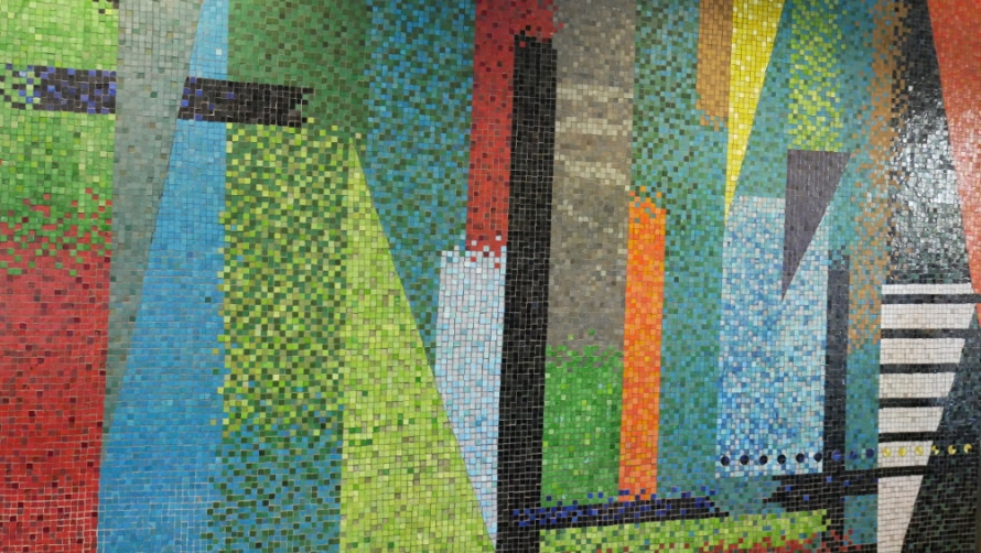 A colourful mosaic by artist John Piper, from Birmingham Chamber of Commerce, Edgbaston, Birmingham.