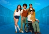 4 teenagers grouped together against a blue background, wearing 1970s clothing.