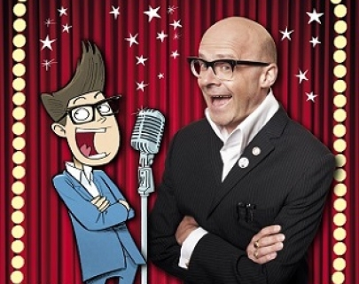 An image of comedian Harry Hill next to a cartoon of a microphone and young comedian Matt Millz, on a red curtained background.
