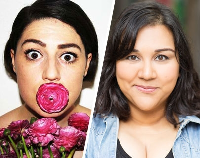 A composite image of comedians Tamsyn Kelly and Sukh Ojla