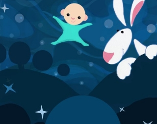 Drawing of a baby in a blue sleepsuit floating in the starry night