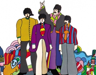 Abstract Animation. A colourful portrait drawing of The Beatles wearing jazzy suits and bright ties