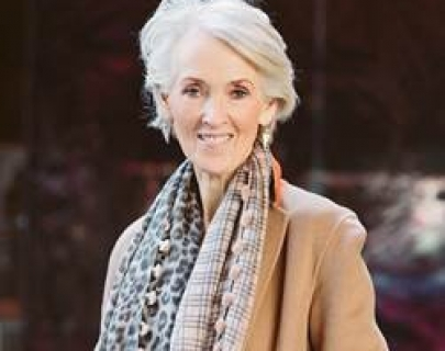A headshot of writer Joanna Trollope smiling towards the camera