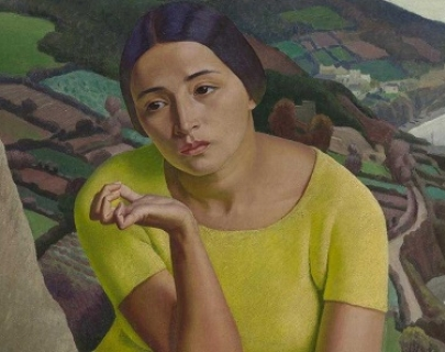 A painting of a woman in a yellow shirt in front of hills of countryside