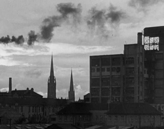 A black and white landscape still of Coventry from 'A City Reborn'.