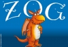 An orange cartoon dragon stands against a blue background with ZOG written in white letters on it.