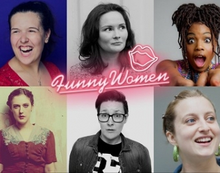 A composite image of the 6 women in the Funny Women showcase, with pink neon writing reading Funny Women, and pink neon lips