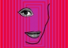 A simple outline of a face with one eye on a bright pink striped background